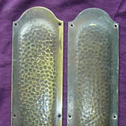 SALE A Rare Pair of Victorian Hammered Bronze Door Push Plates