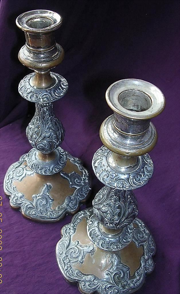 Glorious Early Victorian Rococo Revival Style Copper & White Metal Candle Sticks