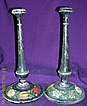 Pretty Pair of Tall Victorian Hand Painted Wooden Candle Sticks