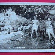 "Vintage Photo Postcard of Semi Naked Samoan Girls Bathing ""In Samoa"""