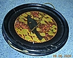 Vintage Round New Zealand Poker-Work 'TUI On Pohutakwa Tree' Bird Tray