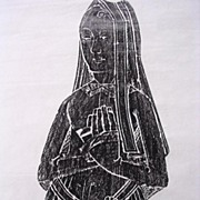Lovely Vintage Brass Rubbing Of 'LADY ALICE CLIFTON' 1658 Coleshill