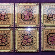 A Set Of 6 Beautiful Art Nouveau English Porcelain Tiles