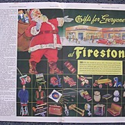 1945 FIRESTONE Double Page Spread Advertisement