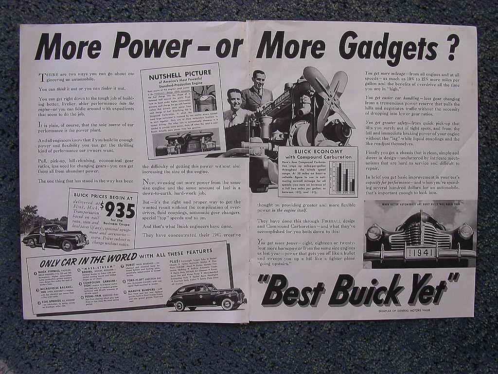 1940  BUICK Double Page Spread Advertisement
