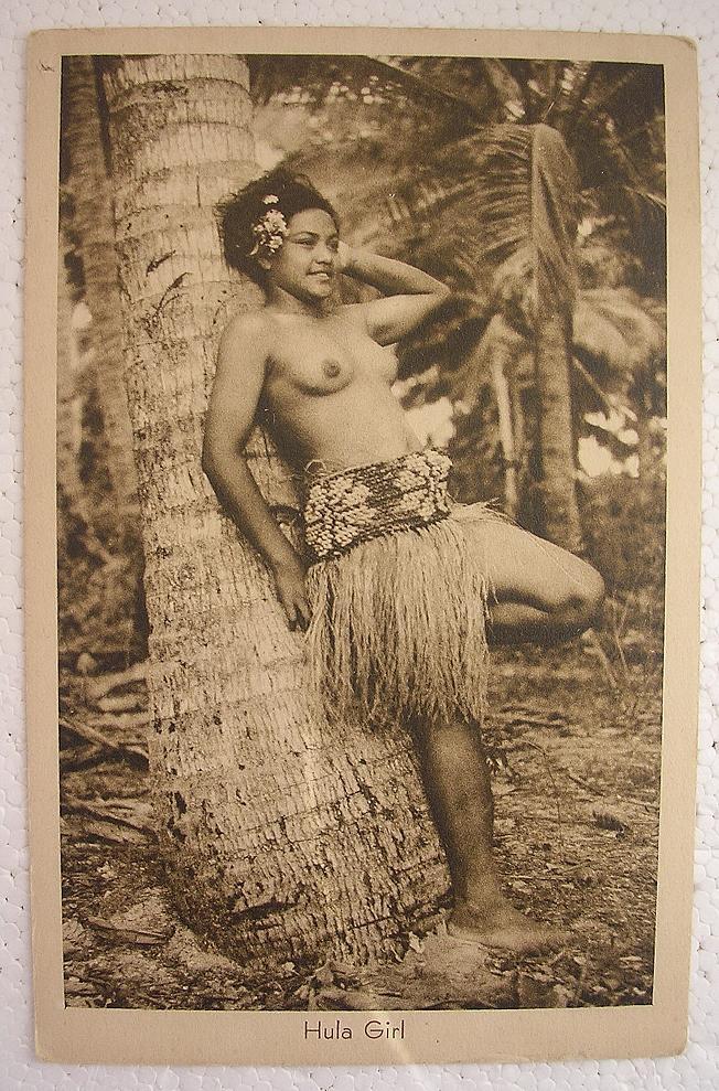 Vintage Topless Hula Girl Postcard