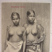 Vintage Postcard of Topless Native  RHODIYAS Girls From CEYLON
