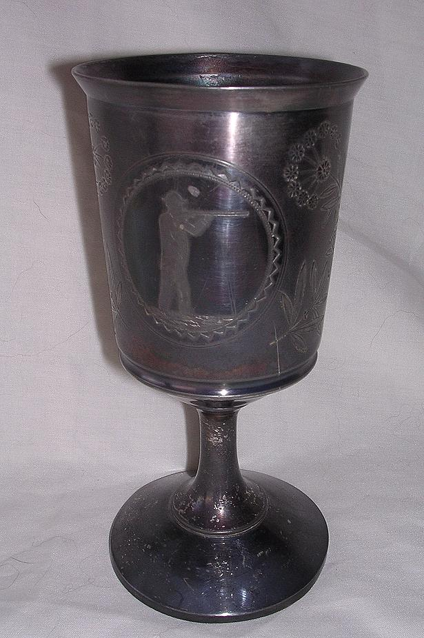 Early American MERIDEN B Pewter Goblet Shooting Trophy