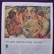 "Esquire 1944 PULLMAN WW2 Advert ""Dis pella soeting belong wuh - name"""