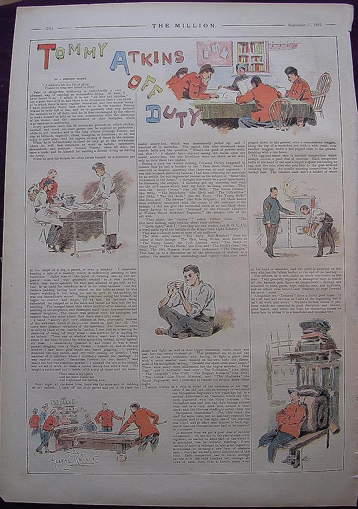 1892 Full Page From THE MILLION Newspaper ' Tommy Atkins Off Duty'