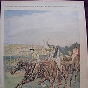 1892 Full Page From THE MILLION Newspaper 'The Race For The St. Leger'