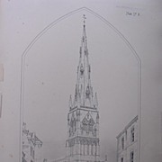 Stunning Large 1858 Lithograph of SAINT MARY MAGDALENE - NEWARK - Nottinghamshire  - Stamford