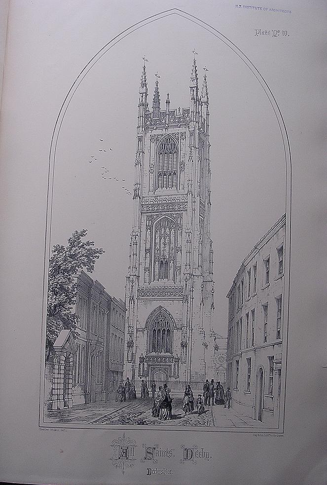 Stunning Large 1858 Lithograph of ALL SAINTS' - Derby - Derbyshire