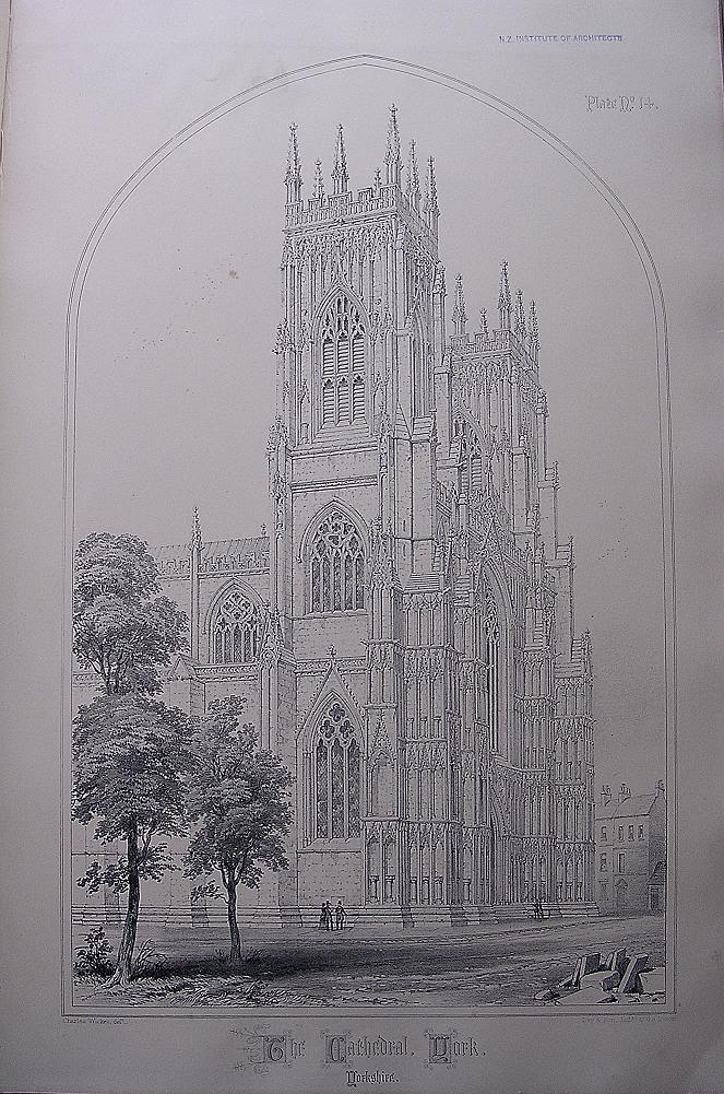 Stunning Large 1858 Lithograph of THE CATHEDRAL - YORK - Yorkshire