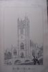 Stunning Large 1858 Lithograph of SAINT MARY THE VIRGIN  Collegiate Church - Manchester - Lancashire