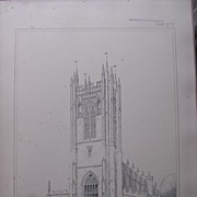 Stunning Large 1858 Lithograph of SAINT MARY THE VIRGIN  Collegiate Church - Manchester - Lanc