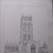 Stunning Large 1858 Lithograph of SAINT GEORGE'S - Doncaster - YORK - Yorkshire