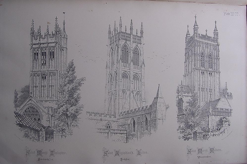 Stunning Large 1858 Lithograph of St.MARY'S - Ilminster: St. AUGUSTINE'S - Hedon: St. MARY'S PRIORY CHURCH - Malvern