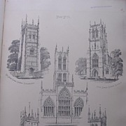 Stunning Large 1858 Lithograph of THE ABBOTS TOWER - Evesham: St. MARY'S - Tickhill: THE HOLY