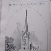 Stunning Large 1858 Lithograph of SAINT MARY'S - Saffron Walden - Essex