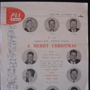 Rare 'A Merry Christmas' Client Sheet From Pan American Airlines Dated December 1958