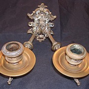 German Double Arm Brass Piano Candle Sconce Circa 1880-1890