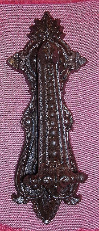 Large victorian gothic cast steel door knocker from molotov on ruby lane - Gothic door knockers ...