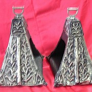 SALE RARE Peruvian Alpacca Silver Over Wood Shoe Stirrups Circa 1830-1860