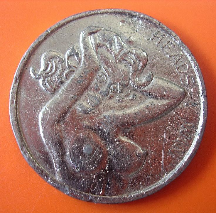 Nude Lady Tossing Coin