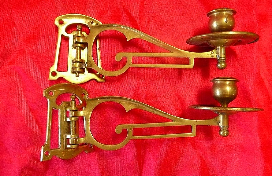 A Pair of Victorian ARTS & CRAFTS Piano Candle Sconces Circa 1890