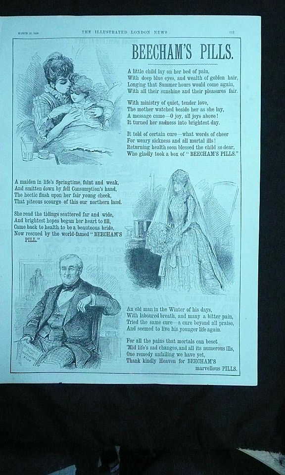 BEECHAMS PILLS - Original Full Page Advert Illustrated London News March 1890