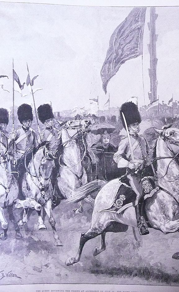 'The Queen Reviewing The Troops at Aldershot' Full Page London Illustrated News 1892