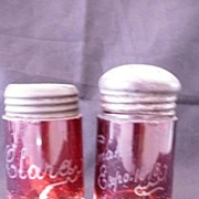 1898 OMAHA EXPO Ruby Glass Salt & Pepper Shakers