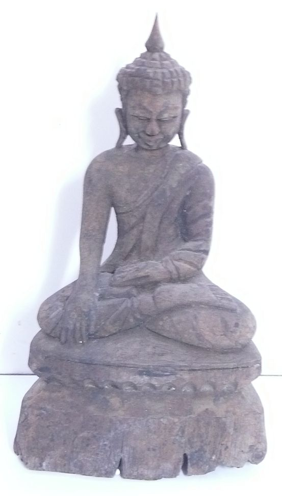 Very Old  Hand Carved Wooden  BUDDHA -Thailand Circa 19th Century