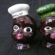 BLACK Americana ' Curacao' Souvenir Salt & Pepper Chef Heads