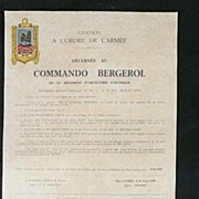 Rare French Indochine War - COMMANDO BERGEROL - Du 10c RAC Citation