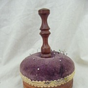 Treen Folk Art Pin Cushion Early 1900's