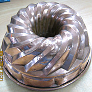 Huge German Copper Jellied Aspic Mold Circa 1860