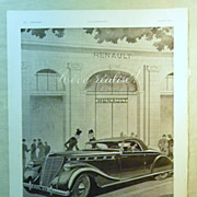 SALE ORIGINAL RENAULT Advert  From L ' Illustration French Magazine April1939