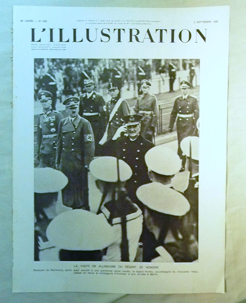 ORIGINAL Feature Page  on Hitler From L ' Illustration French Magazine September 1938