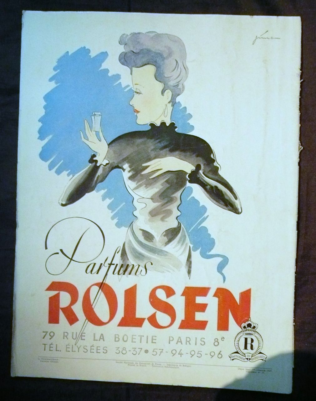 ORIGINAL &quot;ROISEN PARFUMS&quot; Advert From L ' Illustration French Magazine 1947
