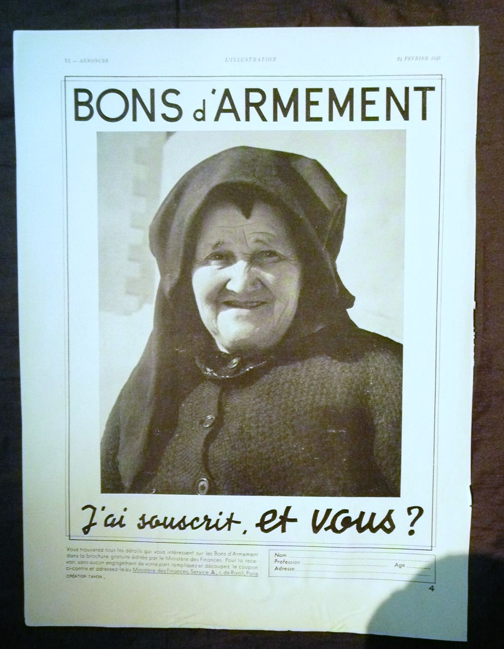 "ORIGINAL ""R.A.F."" WW11 Bons d' Armement ""  Advertisement  From L ' Illustration French Magazine 1940"