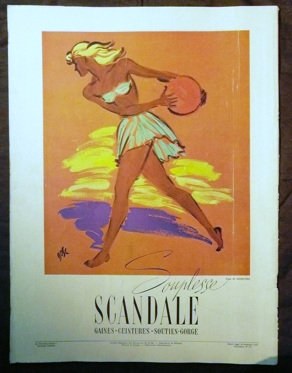 "ORIGINAL ""SCANDALE"" Advert From  L ' Illustration French Magazine  1947"