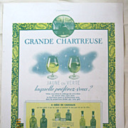 SALE ORIGINAL &quot;CHARTEUSE  APERITIF&quot; Advert From L ' Illustration French Magazine Dec