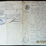 French & Chilean Legal Document  - Paris Dec. 1892 & Chile 1893