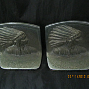 An  Art Deco Pair of 'INDIAN CHIEF' Metal Book Ends