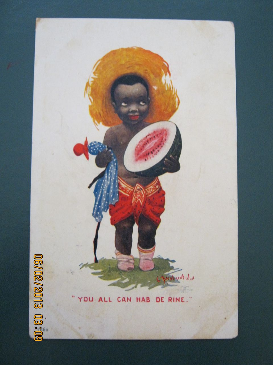 "Black American Postcard "" You All Can Had De Rine"""