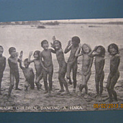 Photographic Postcard &quot;Maori Children Dancing A Haka&quot;. Rotorua, New Zealand