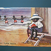 "Black American Postcard "" My Turn Next"""