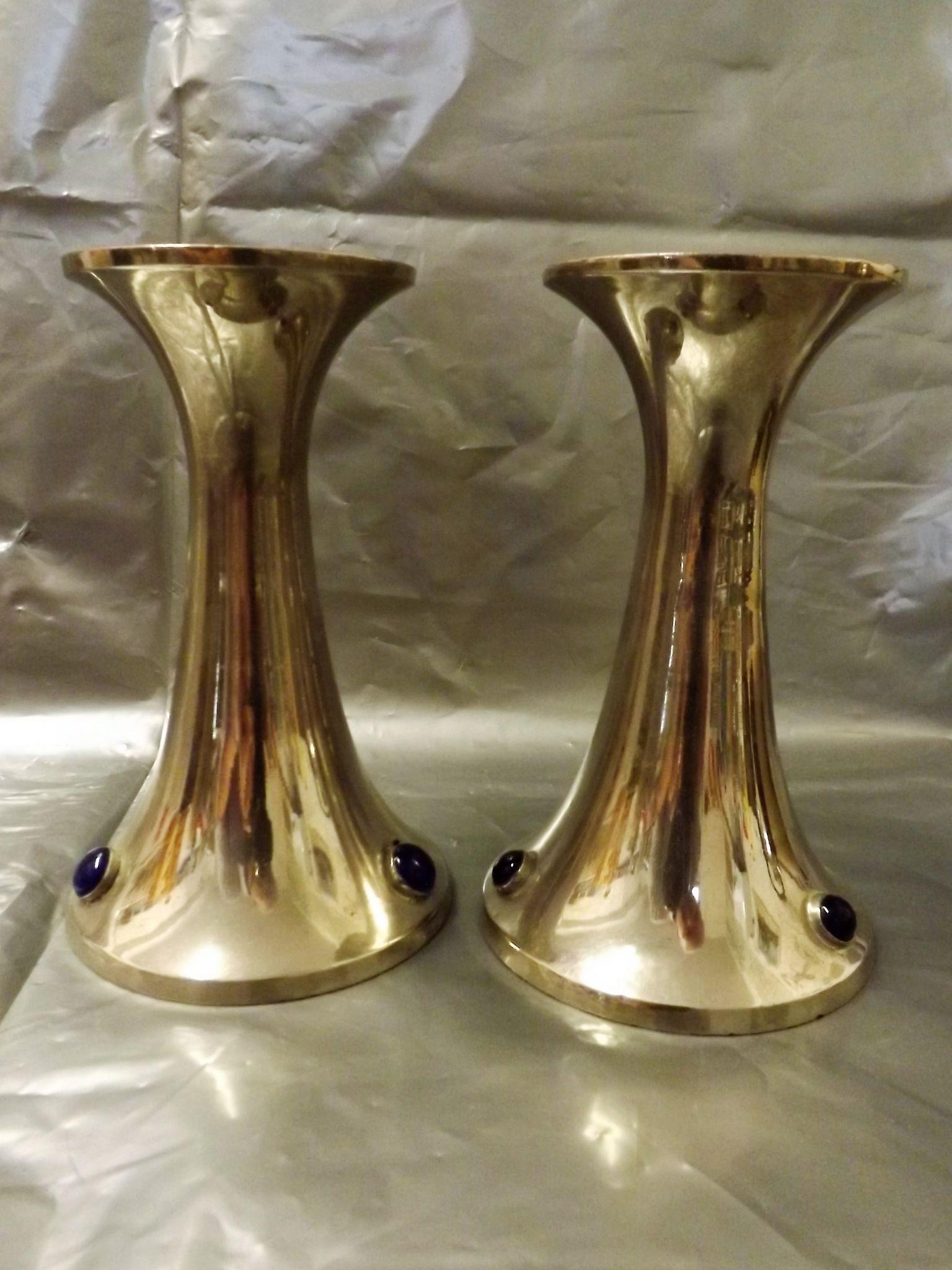 A Pair of Art Deco Chromed Candle Sticks with Cabochons - Circa 1930